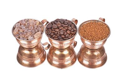 pure cane brown sugar ,Coffee Beans, in a cup, mirror