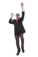Businessman with a climbing pose