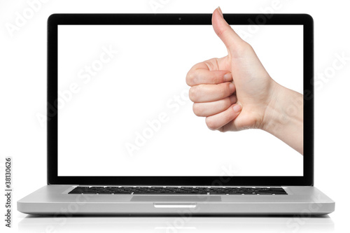 Laptop with blank screen and OK hand isolated on white