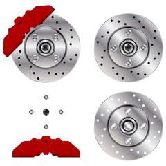 Car brake disk system isolated over white background