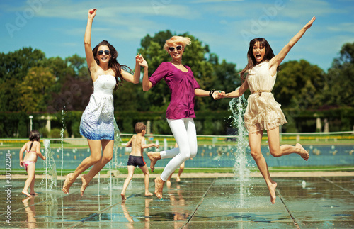 Three women enjoying summer day