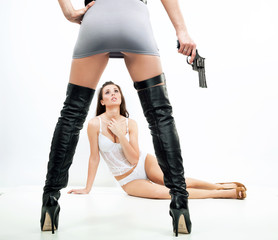 Violence scene - two sexy ladies