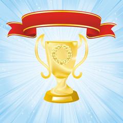 golden cup on strip blue background