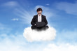 Asian Businessman Working on top of a cloud