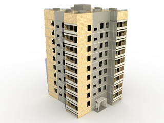Nine-storey building on a white background №1