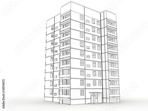 Building Drawing Stunning Wireframe Blueprint Drawing Of D