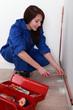 Female apprentice plumber