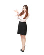 pretty business woman showing presentation pose