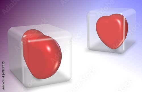 Hearts in cubes