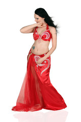 portrait of a beautiful belly dancer with long hair.