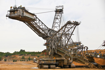 Bucket-wheel excavator in an open pit.