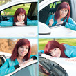 Young red-haired woman in a car outdoors, collage