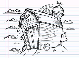 Notebook Doodle Sketch Barn Vector