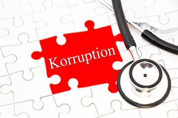 Korruption schriftzug