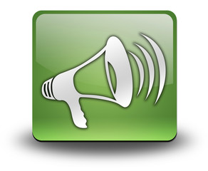 "Green 3D Effect Icon ""Megaphone / Announcement Symbol"""