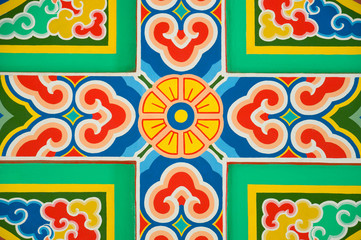 colorful pattern on chinese temple wall