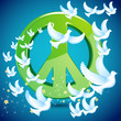 Dove flying around Peace symbol