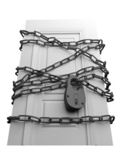 The door closed is wound by a chain with the lock