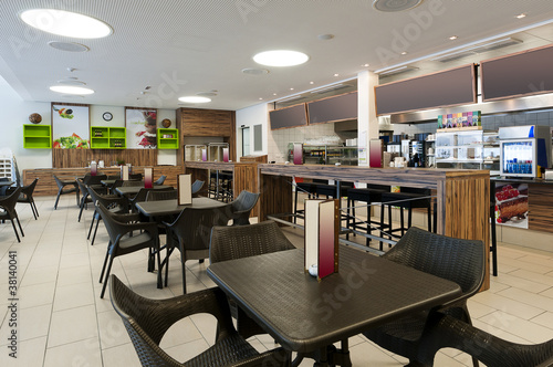 large self service restaurant with wood and rattan interior - 38140041