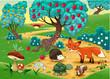 Animals in the wood. Cartoon vector illustration