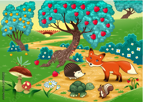 Animals in the wood. Cartoon vector illustration