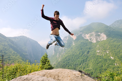 man jump in nature