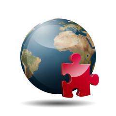 Icono planeta tierra 3D con simbolo plugin
