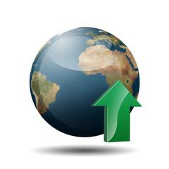Icono planeta tierra 3D con simbolo upload