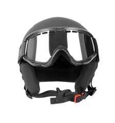 Ski helmet with goggles isolated on white background