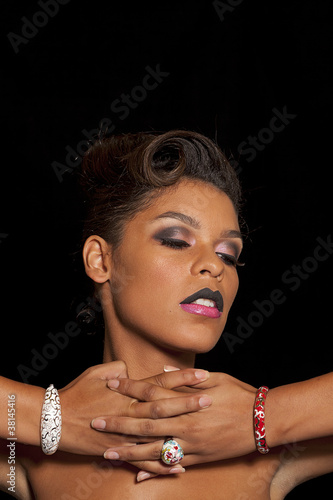 Multi ethnic stylish woman wearing two tone lips
