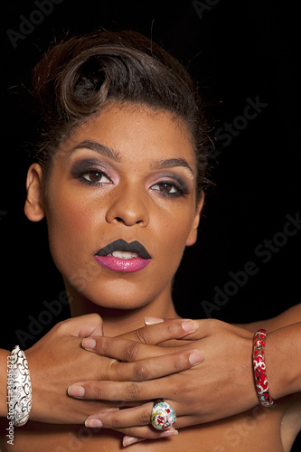 Woman with two tone lips wearing accessories