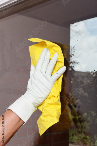 Cleaning window.