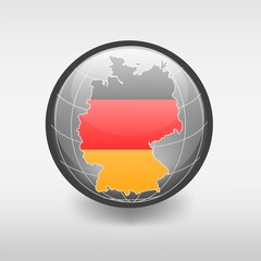 Map of Germany with flag in the globe