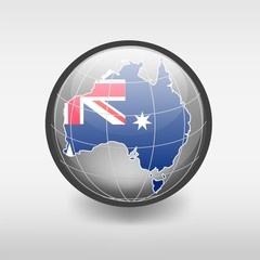 Australian Flag in the globeding