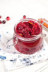 Jar of homemade cranberry sauce