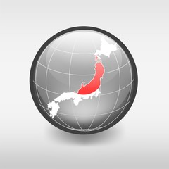 Map of Japan.Flag in the globe
