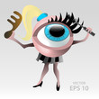 Beautiful female eyeball cartoon character