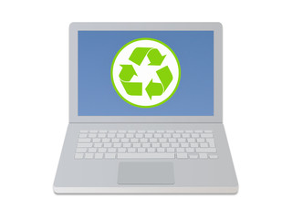 Computer with recycle icon