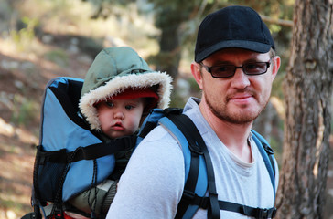 Dad and Child in Baby Hiking