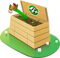 Composteur : ajout de déchets verts (détouré)