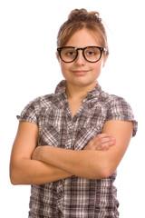 Teeny mit Brille