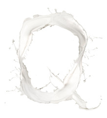 Letter Q made of milk splash,isolated on white background