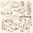 big collection of hand drawn food