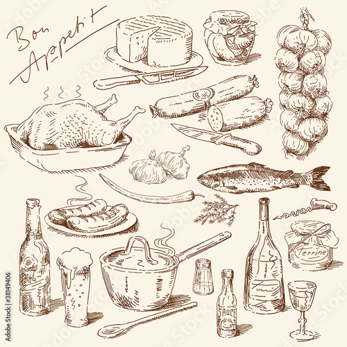 big collection of hand drawn food - 38149406