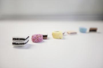 Liquorice sweets on white background