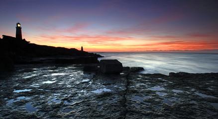 Portland Bill Lighthouse in Dorset at Sunrise