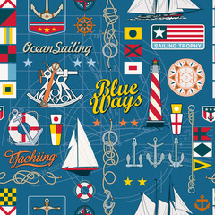 Sailing elements seamless vector pattern