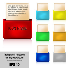 Vector 3D folder icons with place for your text
