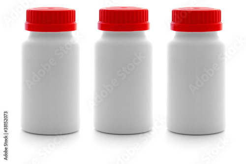 Small plastic container with medicine pills