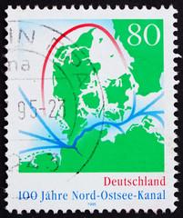 Postage stamp Germany 1995 Map of Kiel Canal